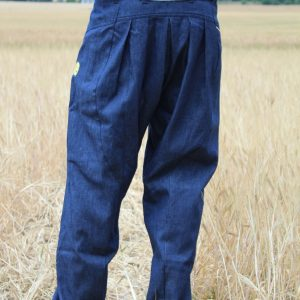 pleated design of drop crotch baggy denim pants